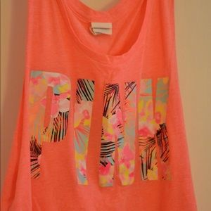 VS PINK Coral Muscle Tank, Tropical Neon Graphic